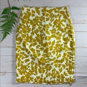 Loft Yellow Floral Print Pencil Skirt